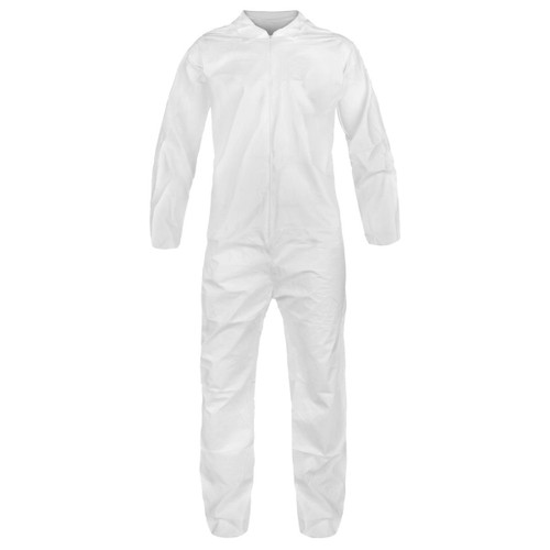 Keystone Polyproplylene Disposable Coverall Suit with Elastic Wrists and Ankles:  Size M