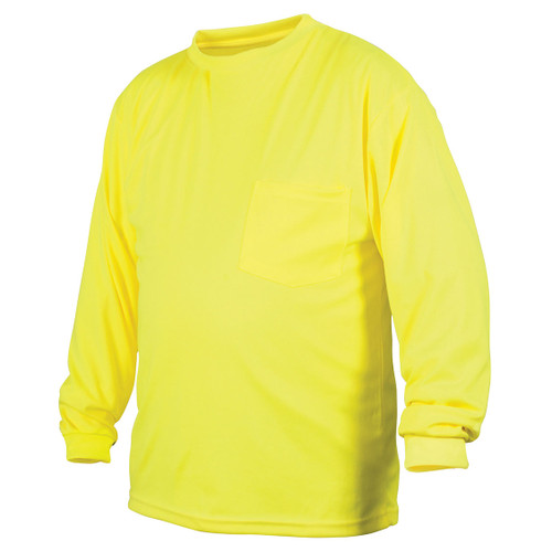 Pyramex Safety Hi-Vis Lime Long Sleeve T-Shirt No Tape