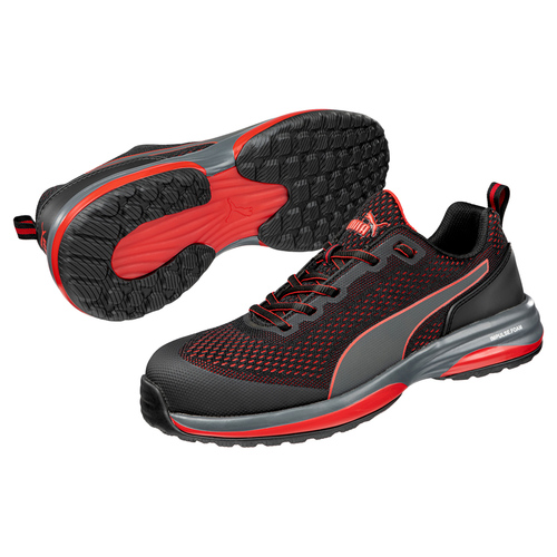 Puma Men's Motion Cloud Charge Black and Red Low Safety Shoe - 644495
