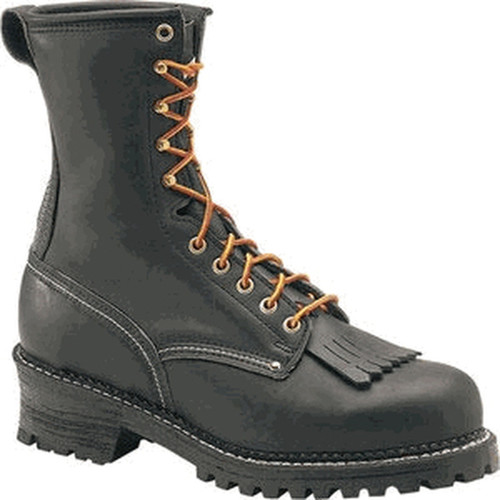 Carolina Domestic 9in Plain Toe Steel Toe Logger Boots - Black - 1922 - 6D - Less Than Perfect