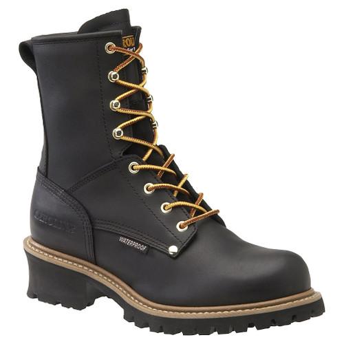 Carolina 8in Plain Toe Waterproof Logger Boots - Black - CA4823 - 9D - Clearance