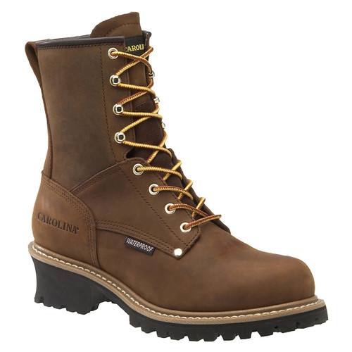 Carolina 8 Inch Waterproof Plain Toe Logger Boots - CA8821 - 9.5EE - Clearance