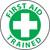 "First Aid Trained, 2"", Pressure Sensitive Vinyl Hard Hat Emblem, Single Sticker"