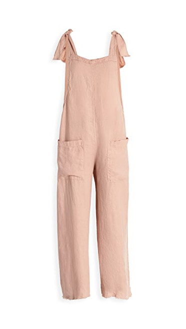 LINEN CROP OVERALL DUSTY ROSE