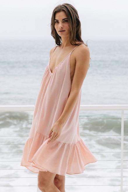ST TROPEZ GAUZE DRESS DUSTY ROSE