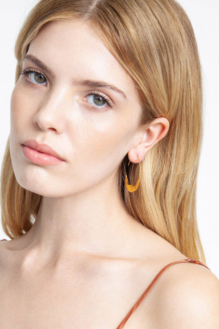 GOLD CRESCENT MOON HOOPS