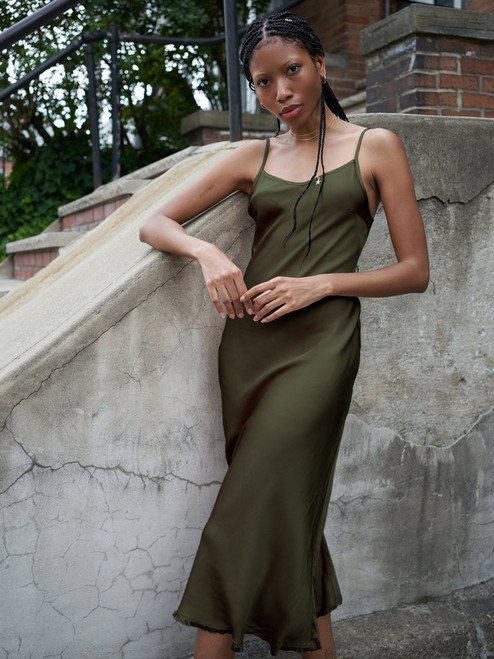 Sofia bias cut slip dress in the color olive