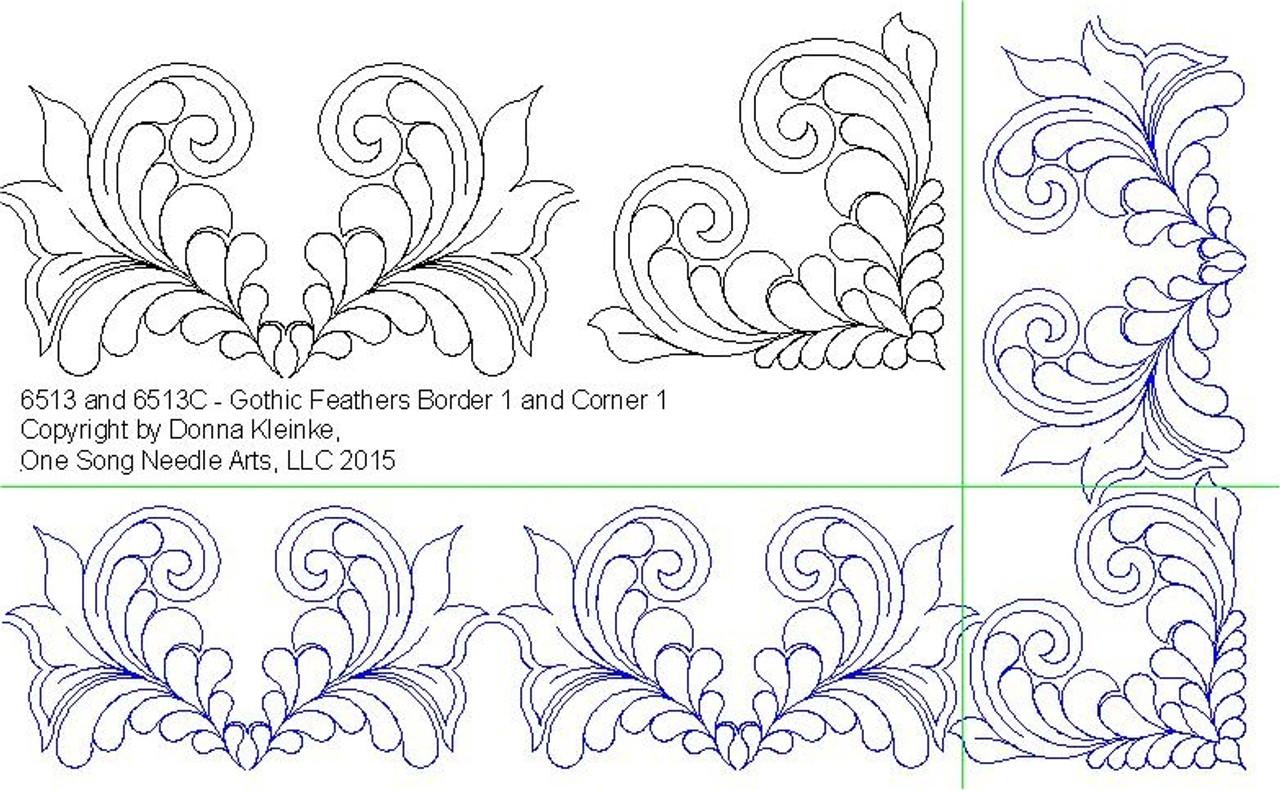 Gothic Feathers Border And Corner Set 1 6513 Set