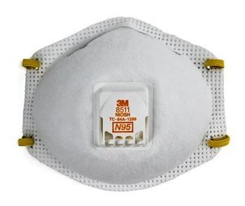 3M 8511 N95 RESPIRATOR W/ EXHALATION VALVE  (BOX OF 10)