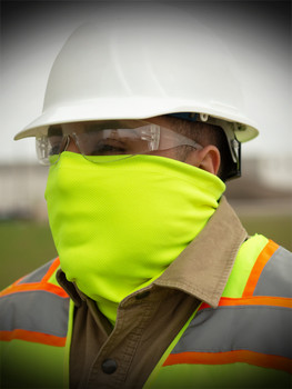 SAFETY GREEN FACE GAITER WITH CINCH CORD