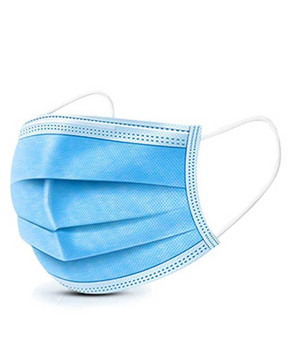 DISPOSABLE 3 LAYER BLUE FACE MASK, PACK OF 50 MASKS