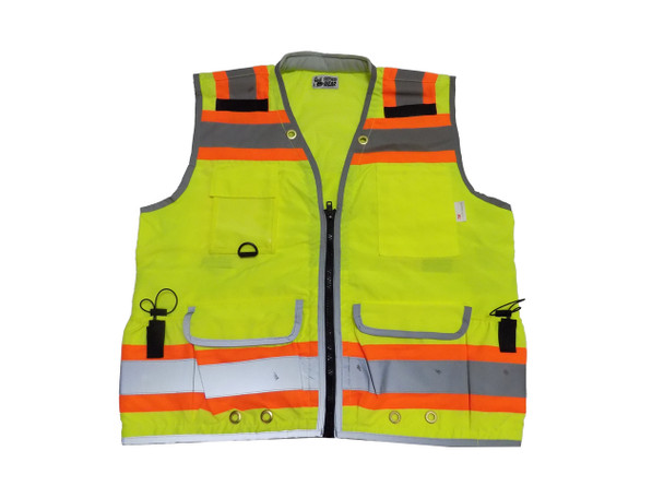 HEAVY DUTY ANSI CLASS 2 SAFETY VEST, 2 TONE, MULTI POCKETS