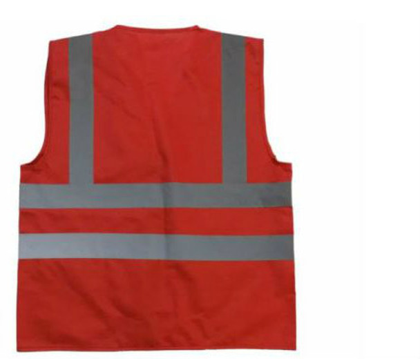 RED NON ANSI SAFETY VEST,  6 PKTS