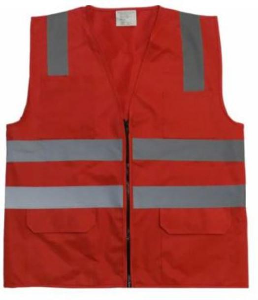 RED NON ANSI SAFETY VEST,  6 PKTS
