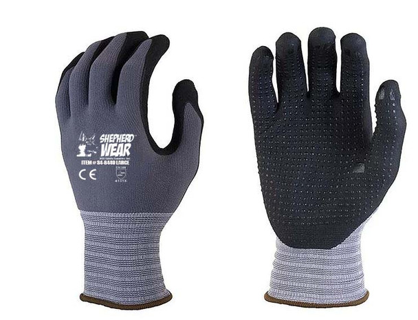 SHEPHERD WEAR NITRILE COATED GLOVES WITH DOTS -12 PAIRS