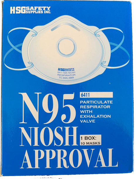 HSG SAFETY 6411 N95 RESPIRATOR WITH EXHALATION VALVE