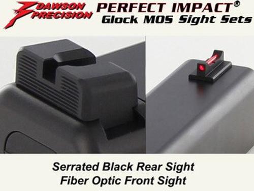 Dawson Precision Glock Gen5 G34 MOS Non Co-Witness Fixed Sight Set - Black Rear & Fiber Optic Front (310-236)