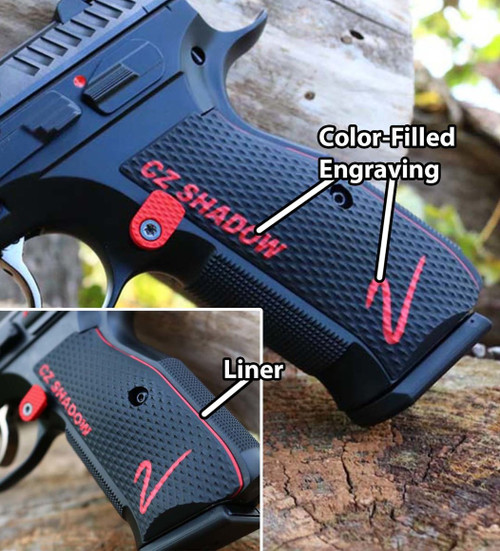 "CZ Shadow 2 Palm Swell Roughnecks Grips - Color-Fill Engraved ""CZ SHADOW 2"" (CZ75S2CFEL)"