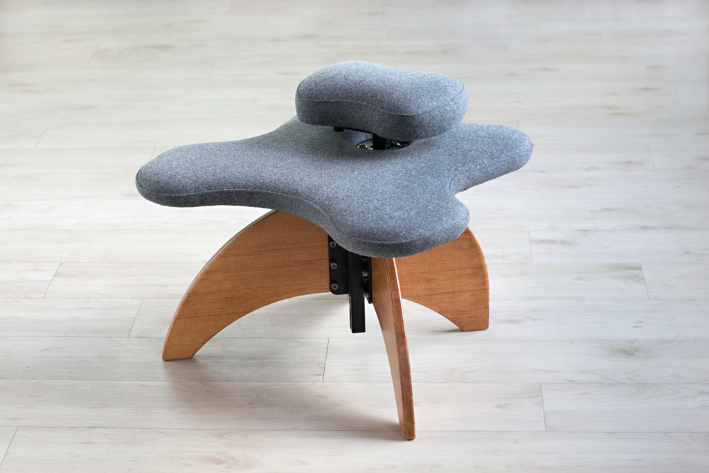Bamboo Soul Seat in Wheat and Grey Pendleton Wool: office chair for cross-legged sitting