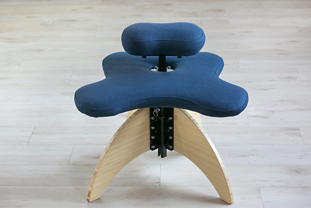 Bamboo Soul Seat in Natural and Marine Pendleton Wool: office chair for cross-legged sitting