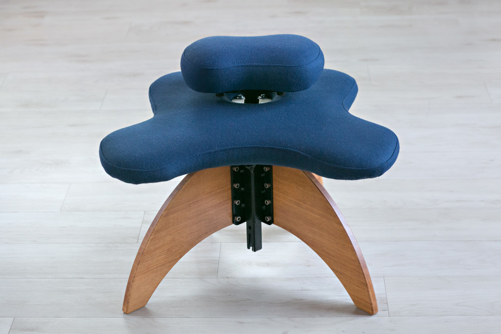 Bamboo Soul Seat in Wheat and Marine Pendleton Wool: office chair for cross-legged sitting