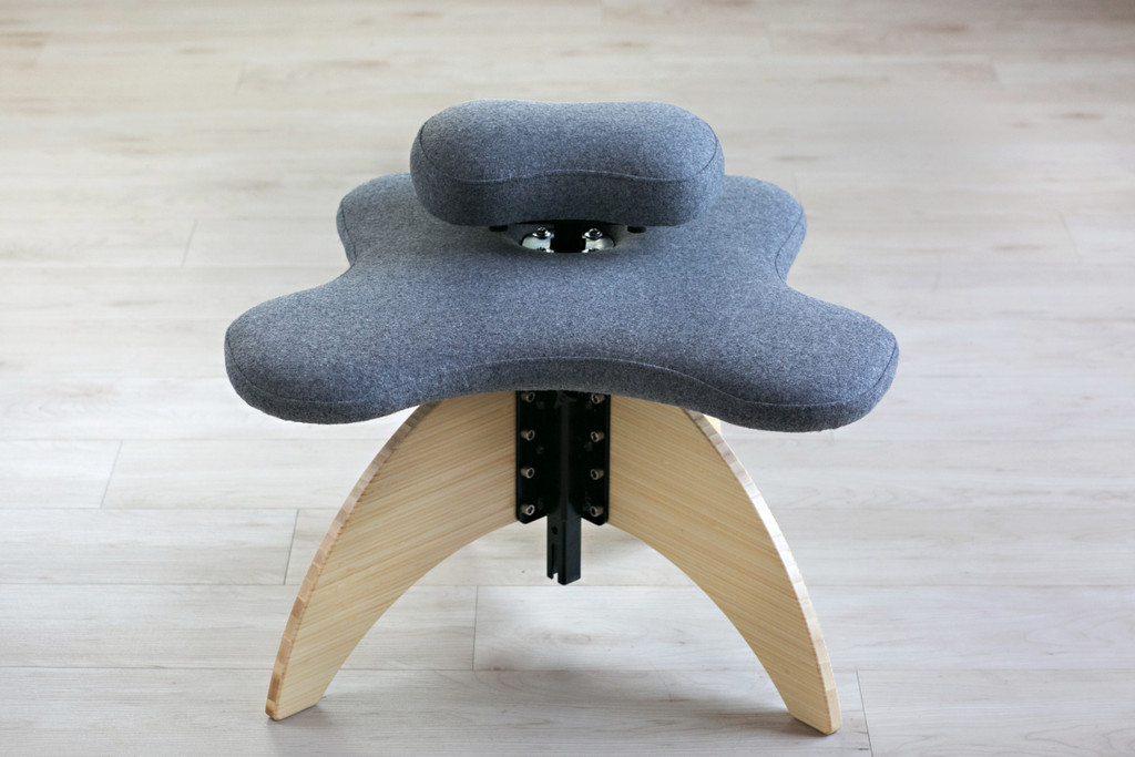 Bamboo Soul Seat in Natural and Grey Pendleton Wool: office chair for cross-legged sitting