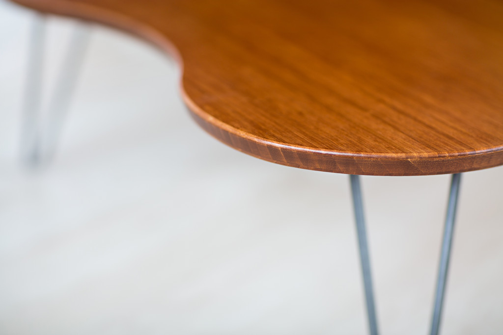Detail of Flow Desk, Tria handcrafted of bamboo in amber finish
