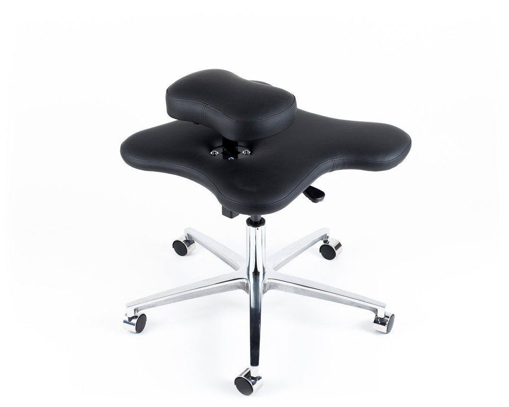 Back view of Soul Seat in black Ultrafabrics Primera for cross legged sitting