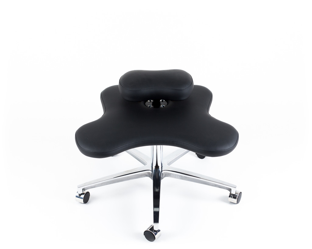 Black vinyl Soul Seat cross legged chair with perch lowered