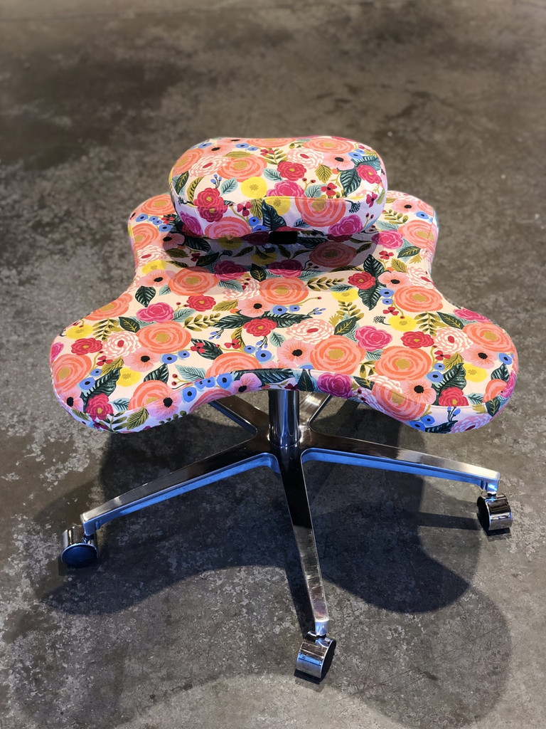 Handcrafted Soul Seat slipcover in Juliet Rose by Rifle Paper Co