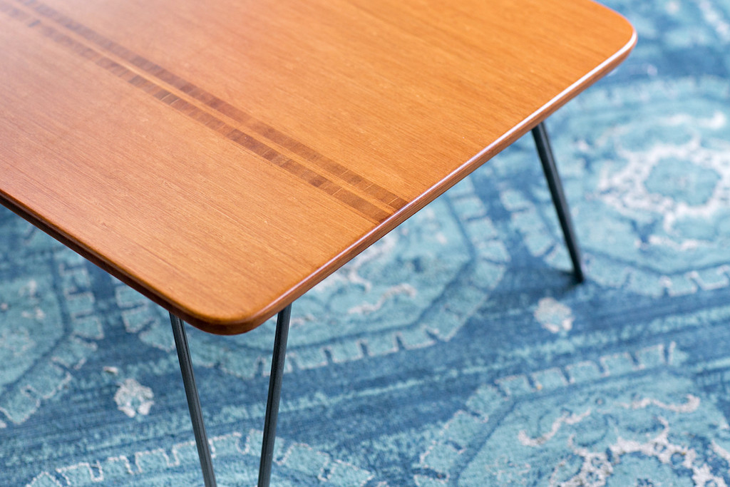 Closeup of inlay in Flow Desk, Tessera with Wheat Bamboo Finish