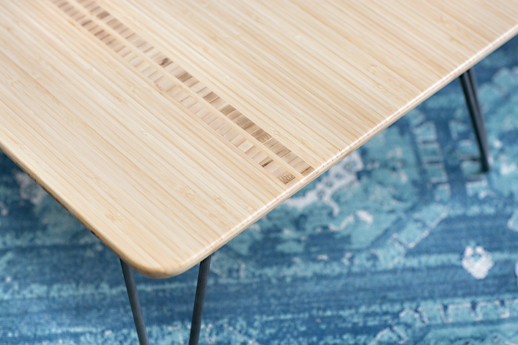 Closeup of inlay in Flow Desk, Tessera with Natural Bamboo Finish