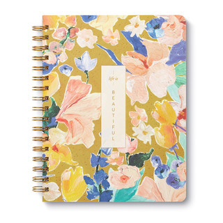 With a mix of cheerful sentiments and painterly floral designs, this wire-O notebook is filled with invitations to take notice of the wonders around you.