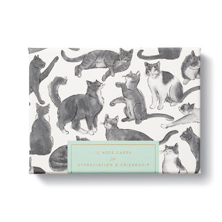 A thoughtful note card set with charming illustrations of cats and sincere messages.