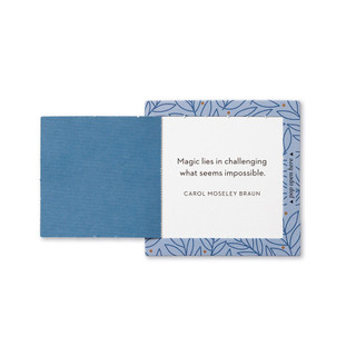 """Inside view of a pop-open card, """"Be Strong"""", blue and gold leaf design, 30 pop-open cards, each with a unique message inside, backside has space to write a note"""