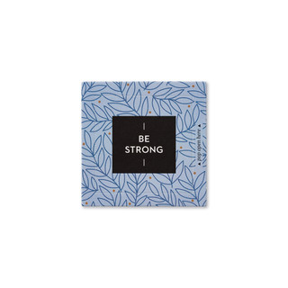 """Front view of a pop-open card, """"Be Strong"""", blue and gold leaf design, 30 pop-open cards, each with a unique message inside, backside has space to write a note"""