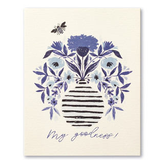 "A white Thank You card with an illustration of a vase of flowers and bee in blue ink. The front of the card reads ""My goodness!"""