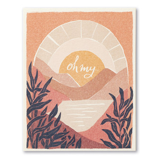 "This encouragement card has the statement ""Oh my…"" and an illustration of the sun rising above a mountain range and water."