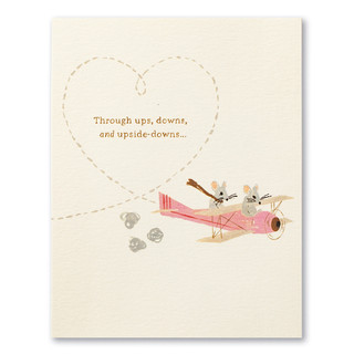 """This anniversary card has the statement """"Through ups, downs, and upside-downs…""""  and an illustration of two mice flying in a small airplane together."""