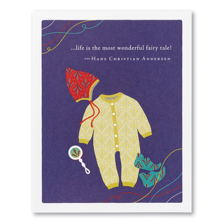 """A blue baby card shower featuring a colorful illustration of onesie, rattle, booties and a bonnet, and the quote """"...life is the most wonderful fairy tale!"""" —Hans Christian Andersen."""