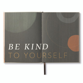 """Inside pages, """"Start Small"""", a guided journal, activity book, with ribbon marker, includes prompts and exercises for self-care and personal well-being, inspiring statement on page feature """"Be kind to yourself"""""""
