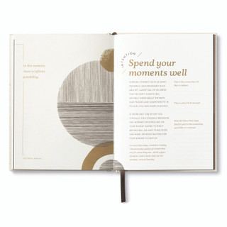 """Inside pages, """"Start Small"""", a guided journal, activity book, with ribbon marker, includes prompts and exercises for self-care and personal well-being, intention activity on page features exercises to """"spend your moments well"""""""