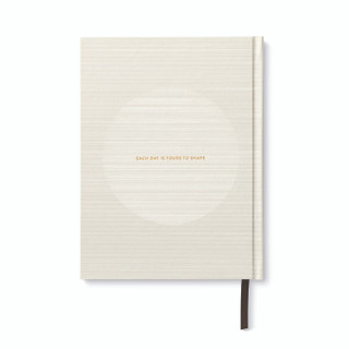 """Back cover, """"Start Small"""", a white and gold foil hardcover, guided journal, activity book, with ribbon marker"""
