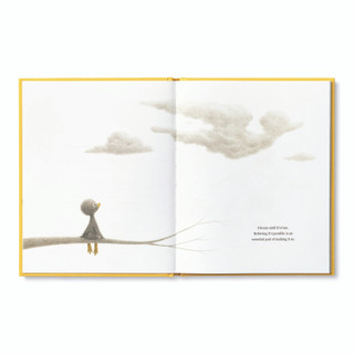 Inside pages, features the main character, an adorable illustrated duckling sitting on tree branch, looking at the clouds, inspiring book by kobi yamada