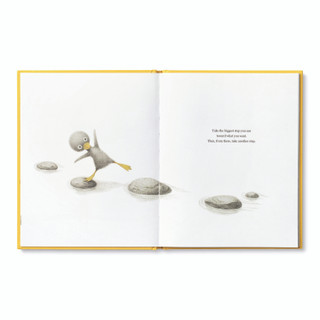 Inside pages, features the main character, an adorable illustrated duckling walking across rocks in a stream, inspiring book by kobi yamada