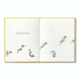 Inside pages, features the main character, an adorable illustrated duckling running, jumping and trying to fly, inspiring book by kobi yamada