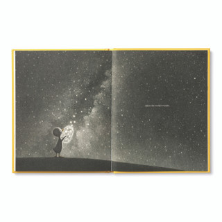 Inside pages, features the main character, an adorable illustrated duckling watching fireflys in the night sky, inspiring book by kobi yamada