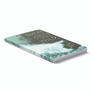 """3/4 cover view, nature-themed journal with 8 breakout pages, each featuring vibrant photography of the natural world with inspiring quotes, the cover features ocean waves crashing against a rocky cliff with the quote """"Taste the beauty of the wild."""" -Edna Jaques"""