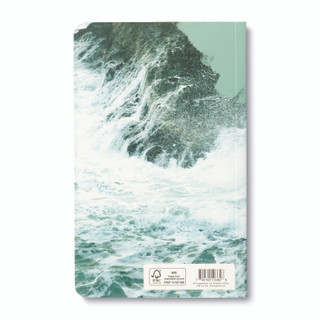 """Back cover, nature-themed journal with 8 breakout pages, each featuring vibrant photography of the natural world with inspiring quotes, the cover extends to the back cover and features the ocean crashing against a rocky cliff with the quote """"Taste the beauty of the wild."""" -Edna Jaques"""