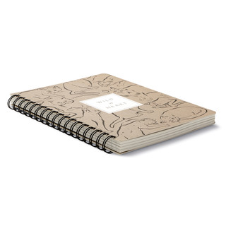 """3/4 view, cat themed, black and cream colored wire-o notebook, the cover features illustrations of fun-loving felines with the statement """"Wild at heart"""", the sophisticated illustrations include a variety of cat breeds, includes 3 breakout spreads, each with a unique design"""